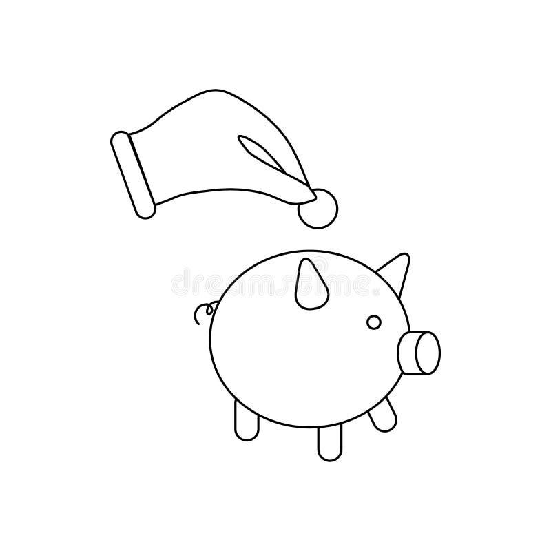 Entregue a colocação de uma moeda no ícone do mealheiro ilustração royalty free