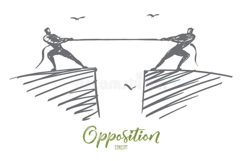 Entregue a corda de arrasto tirada dos povos aos lados diferentes ilustração do vetor