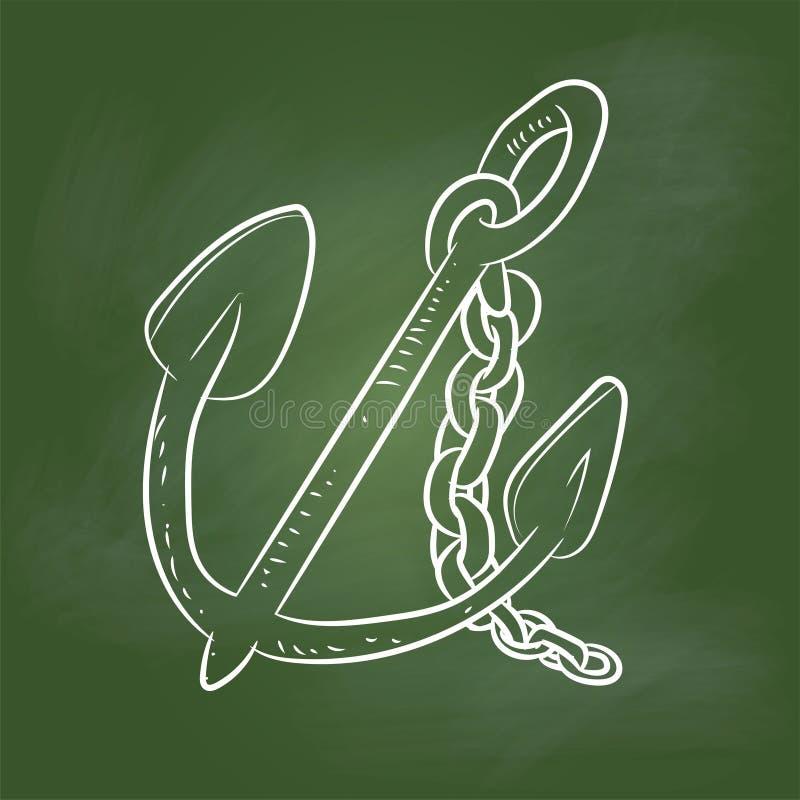 Entregue desenhos animados da âncora do desenho na placa verde - Vector a ilustração ilustração royalty free