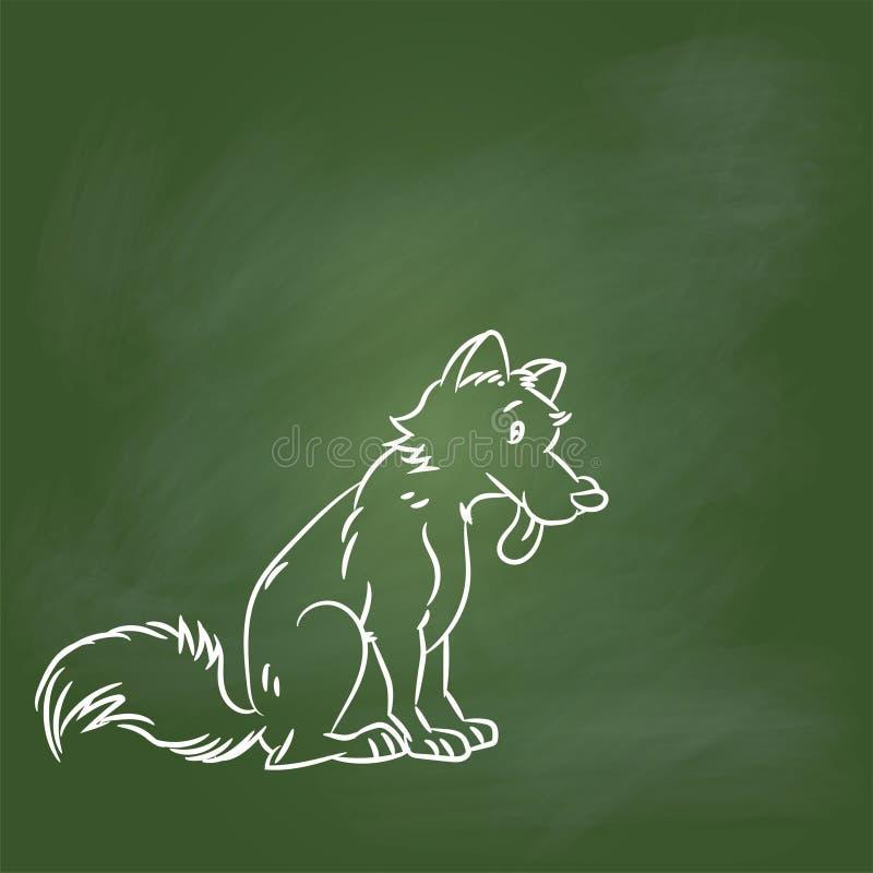 Entregue desenhos animados do cão do desenho na placa verde - Vector a ilustração ilustração stock