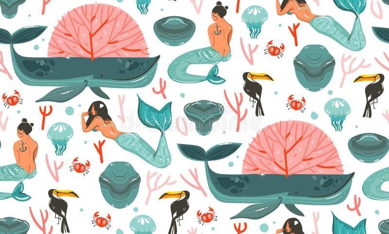 Entregue a desenhos animados tirados do sumário do vetor horas de verão gráficas ilustrações subaquáticas teste padrão sem emenda ilustração stock