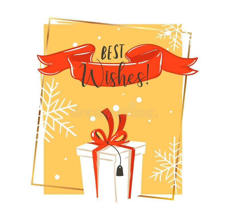 Entregue a desenhos animados tirados do tempo do Feliz Natal do divertimento do sumário do vetor o cartão retro da ilustração do  ilustração stock