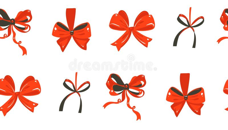 Entregue a desenhos animados tirados do tempo do Feliz Natal do divertimento do sumário do vetor o teste padrão sem emenda festiv ilustração stock