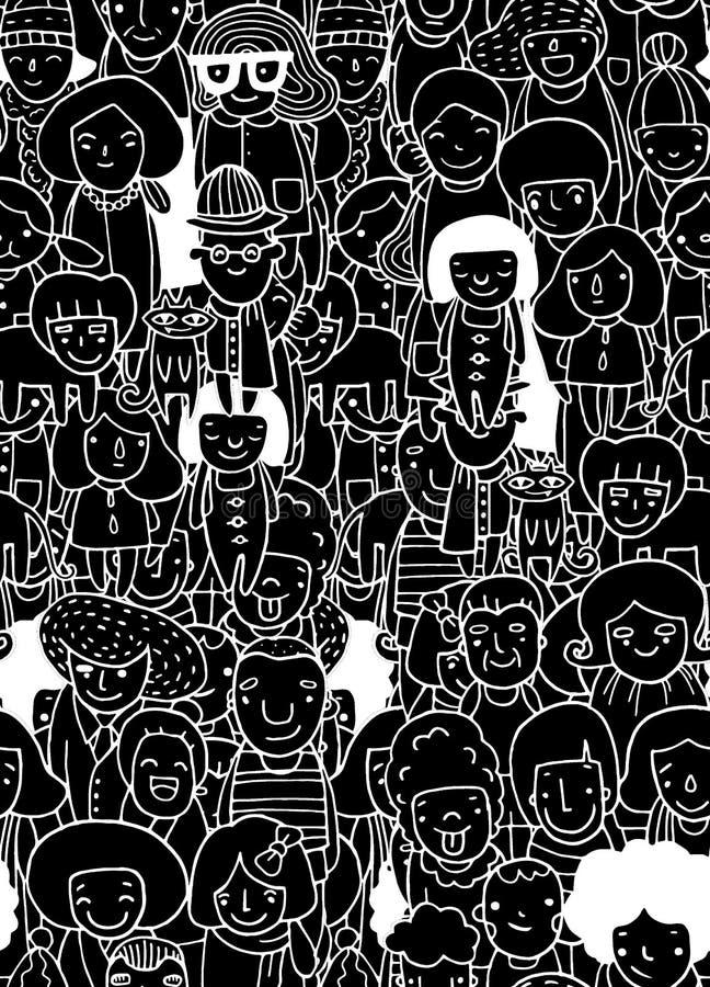 Entregue desenhos, grupo de pessoas, esboço para seu projeto seamless ilustração royalty free