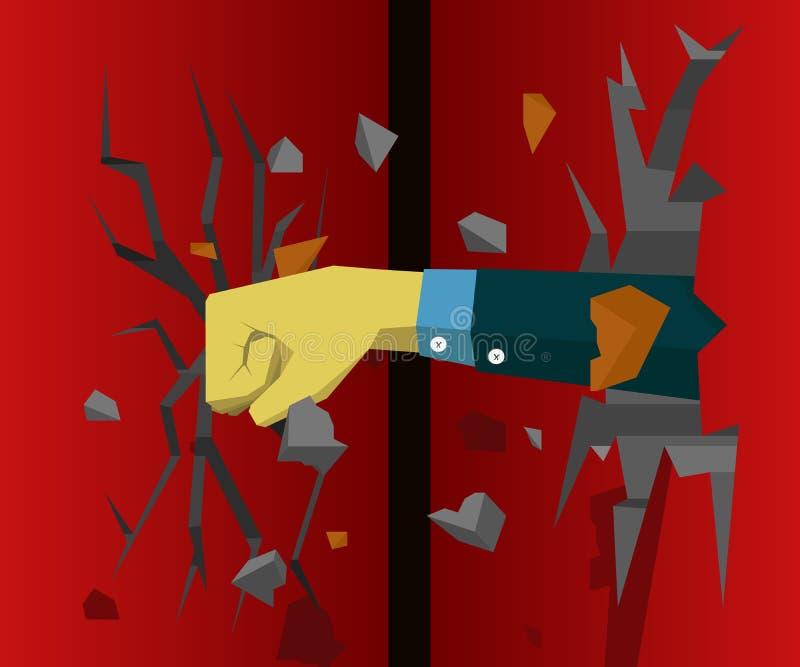 Entregue destroem a parede e fazem a parede seguinte rachar-se ilustração stock