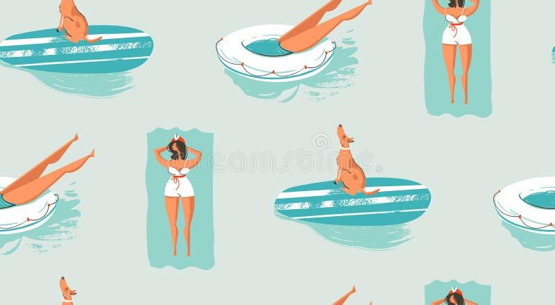 Entregue a divertimento tirado das horas de verão dos desenhos animados do vintage do sumário do vetor o teste padrão sem emenda  ilustração royalty free
