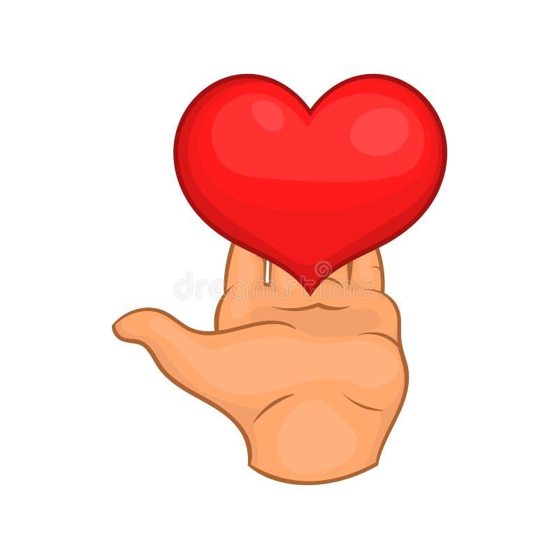 Entregue a doação do ícone vermelho do coração, estilo dos desenhos animados ilustração royalty free