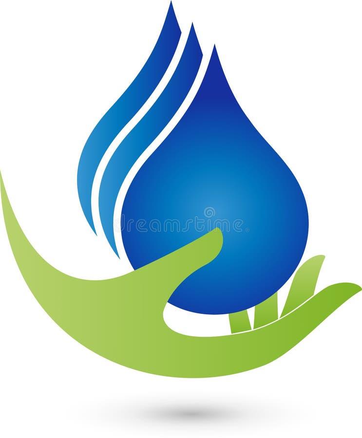 Entregue e três gotas da água, bem-estar e logotipos da água ilustração do vetor