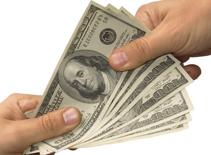 Entregue el dinero la otra mano imagen de archivo libre de regalías