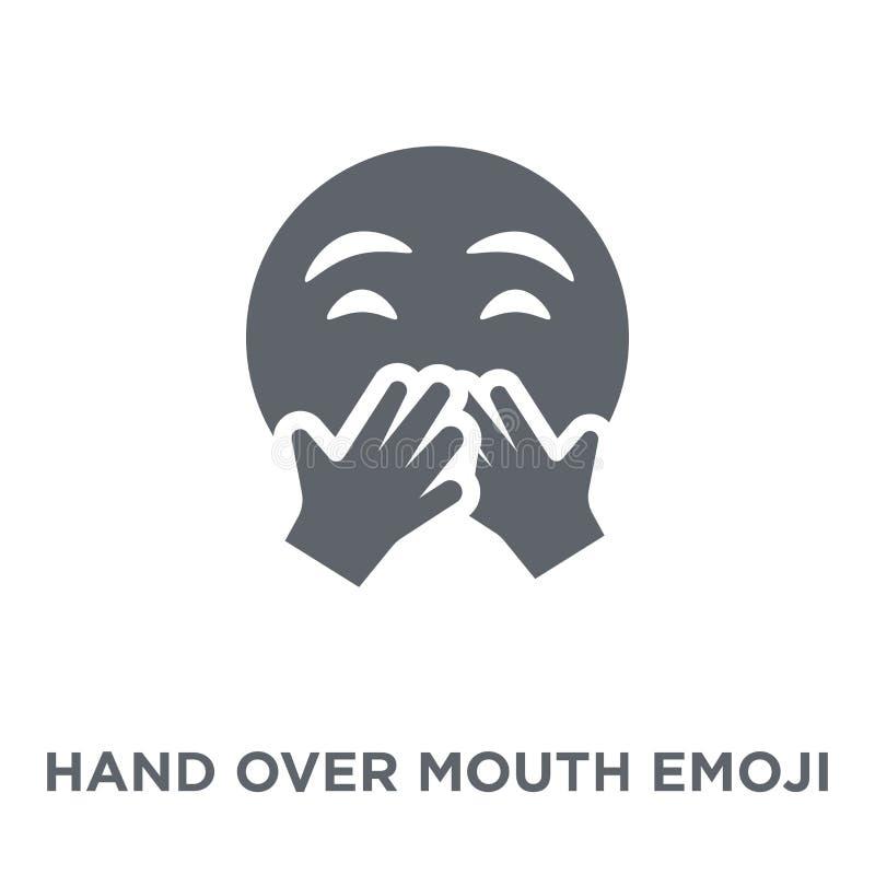 Entregue el icono del emoji de la boca de la colección de Emoji stock de ilustración