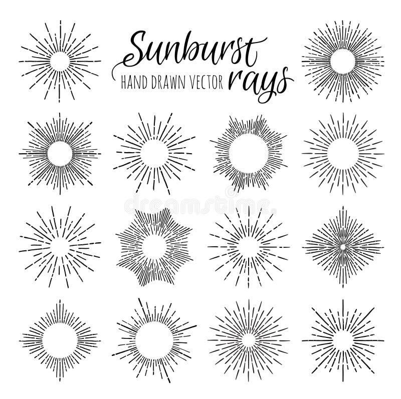 Entregue elementos tirados do vintage do vetor - raios do sunburst (estouro) ilustração royalty free