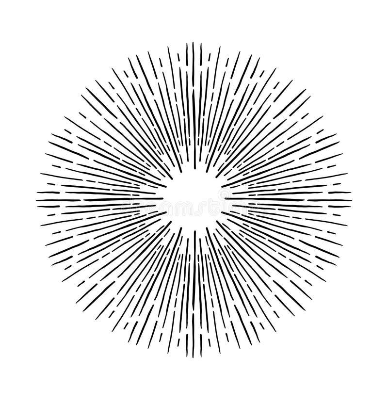 Entregue elementos tirados do vintage do vetor - sunburst que estoura raios ilustração stock