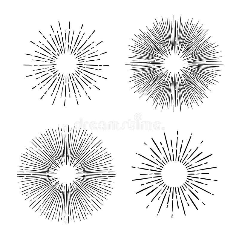 Entregue elementos tirados do vintage do vetor - sunburst que estoura raios P ilustração do vetor