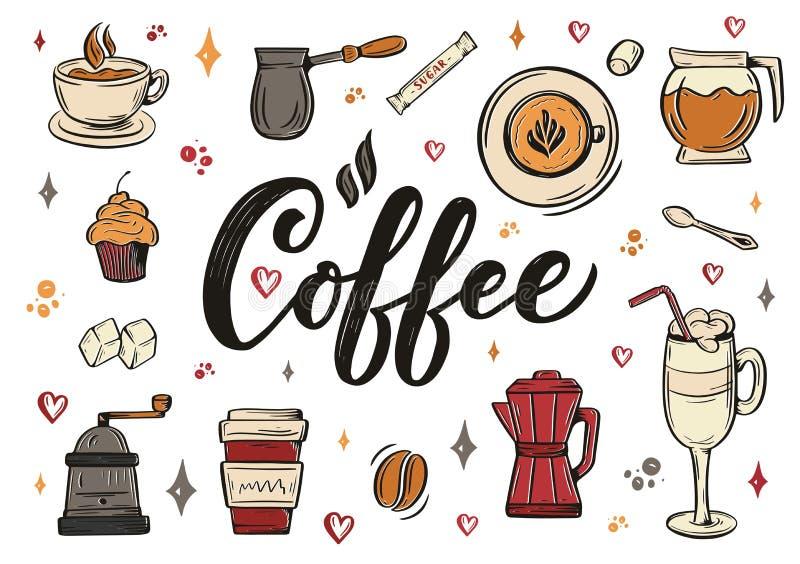 Entregue ellements da rotulação no estilo do esboço para a cafetaria ou o café Projeto tirado mão dos desenhos animados do vintag ilustração do vetor