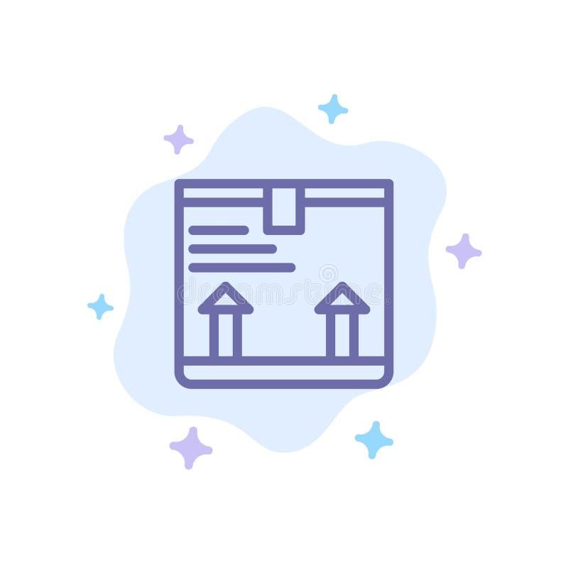 Entregue, encajone, flecha, encima del icono azul en fondo abstracto de la nube ilustración del vector