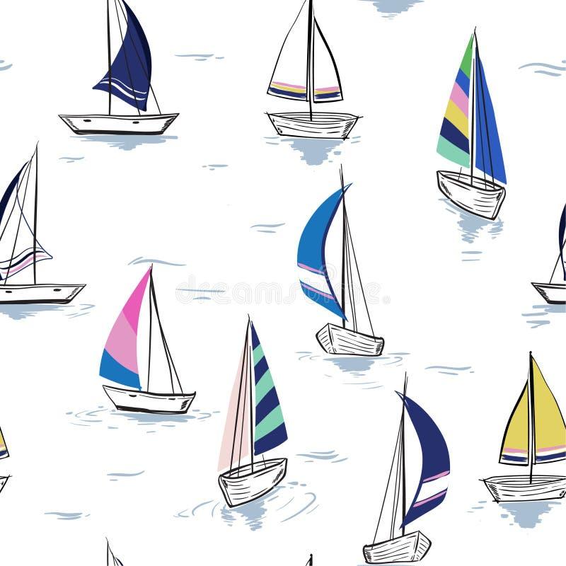 Entregue a esboço do desenho o teste padrão sem emenda do mar do verão com a navigação sh ilustração do vetor