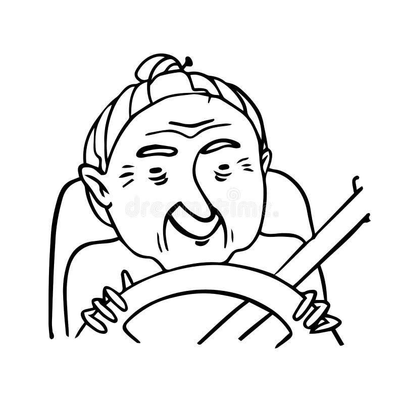Entregue a esboço tirado a senhora idosa que conduz um carro Esboço isolado vetor da avó de sorriso ilustração stock