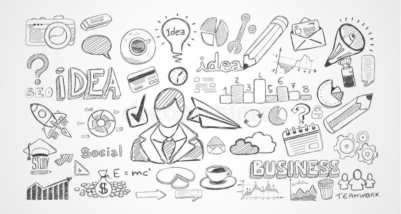 Entregue esboços tirados e muitos elementos e modelos infographic do projeto ilustração stock
