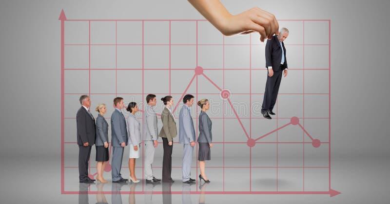 Entregue a escolha de um homem de negócio no fundo cinzento com gráfico e executivos ilustração royalty free