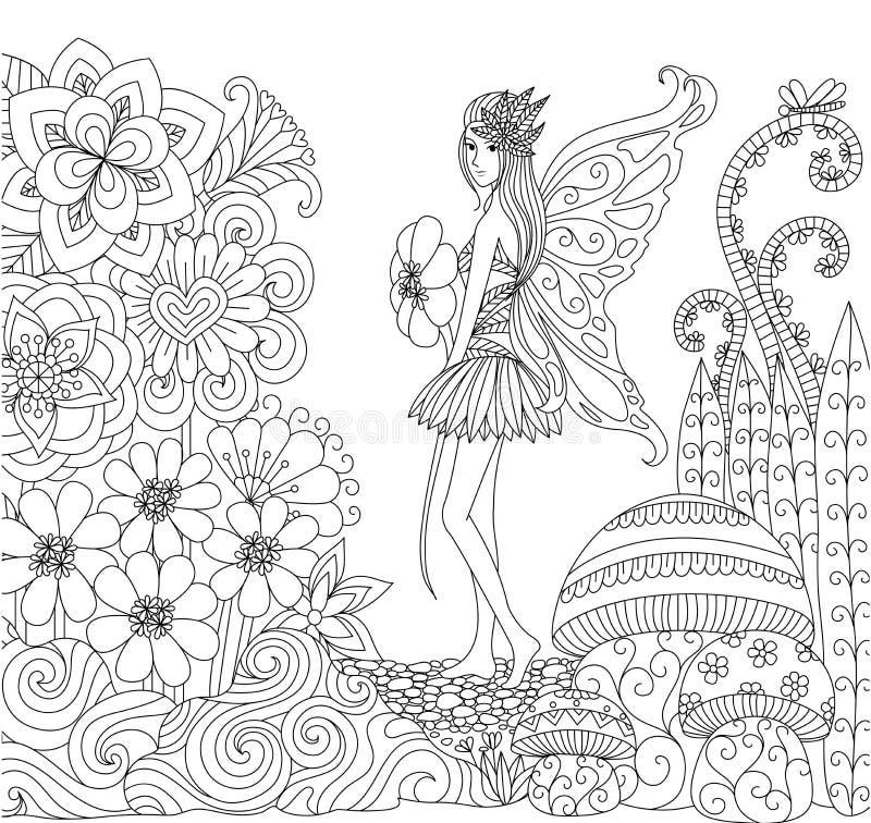 Entregue a fada tirada que anda na terra das flores para o livro para colorir para o adulto ilustração royalty free