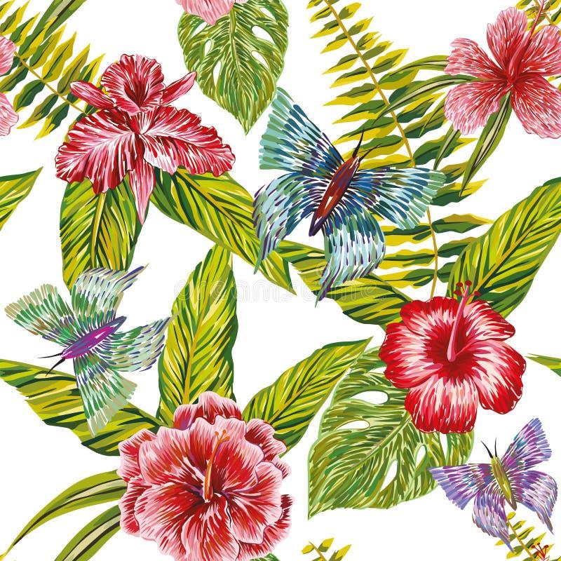 Entregue flores e a borboleta tropicais tiradas das folhas alinhador longitudinal sem emenda ilustração do vetor