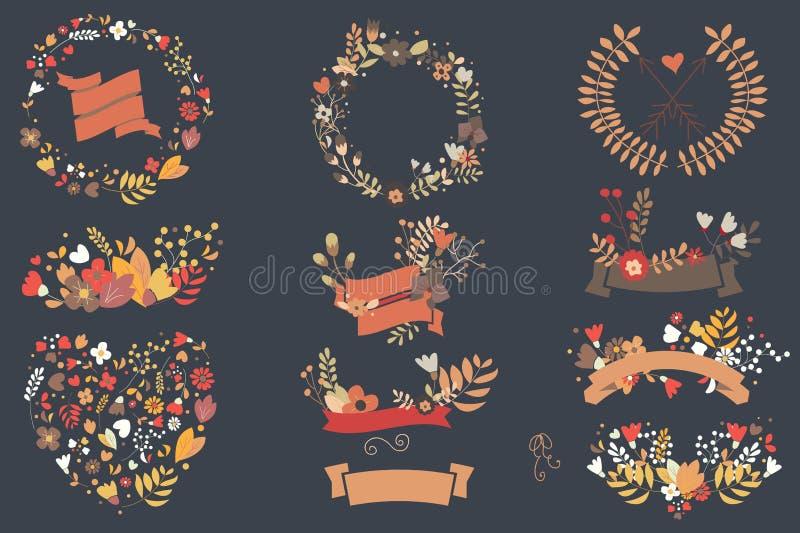 Entregue flores tiradas do vintage e elementos florais para casamentos, Val ilustração stock