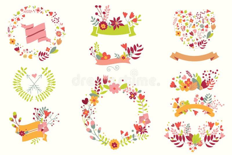 Entregue flores tiradas do vintage e elementos florais por feriados ilustração royalty free