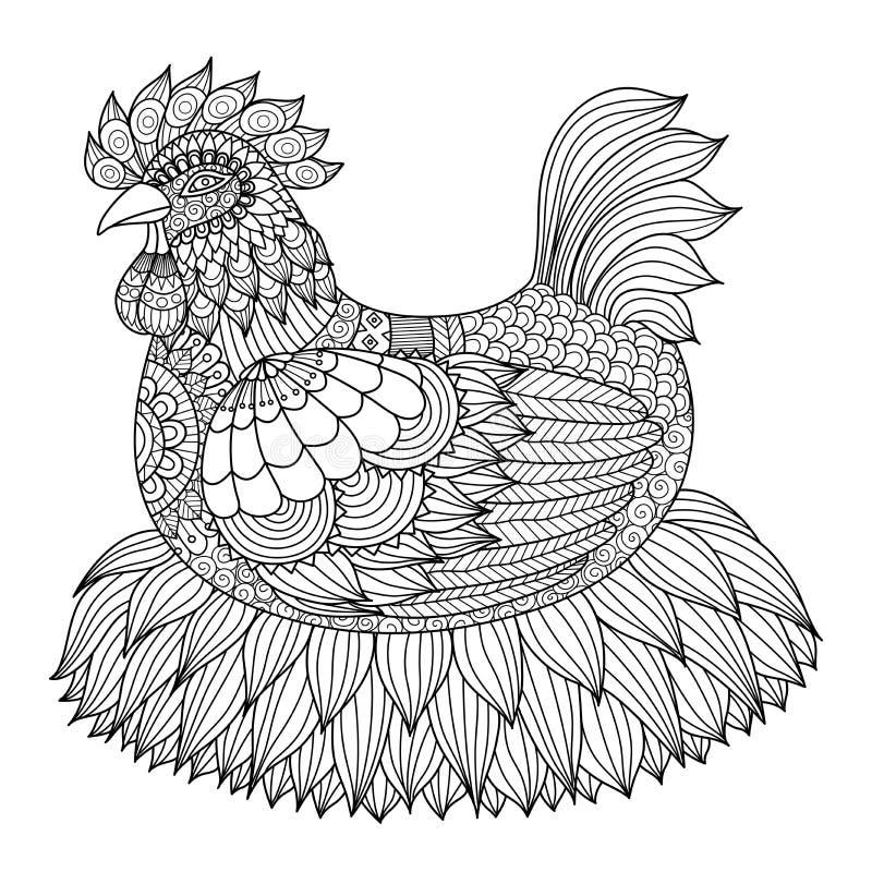 Entregue a galinha tirada do zentangle para o livro para colorir para o adulto ilustração do vetor