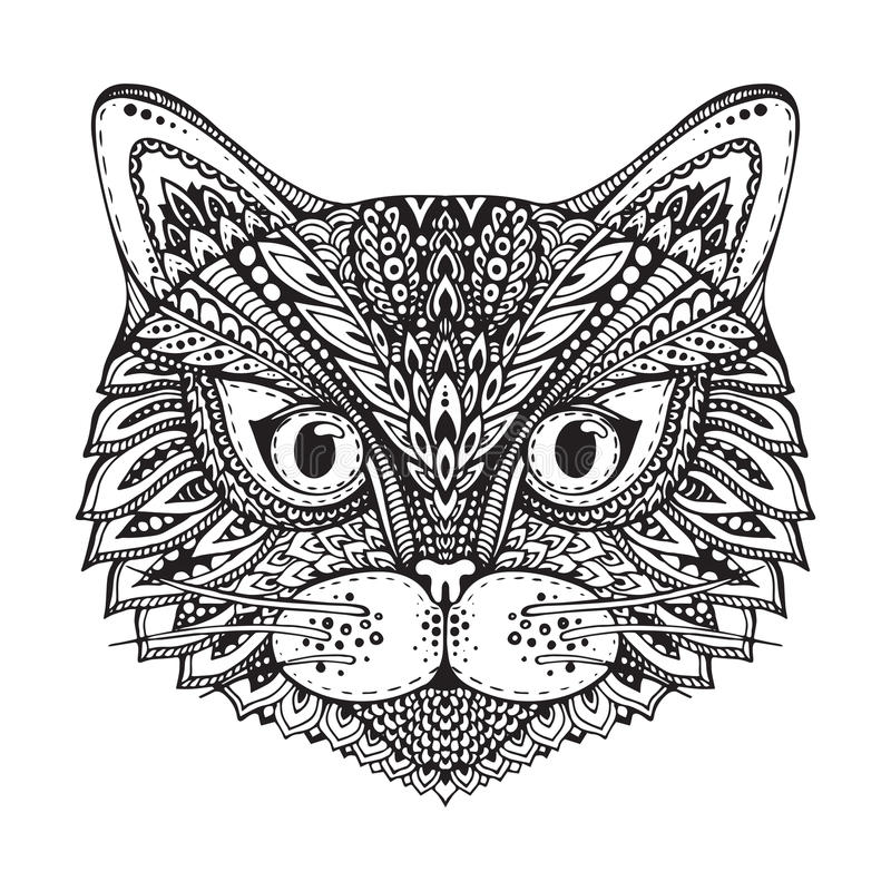 Entregue a garatuja ornamentado tirada a cara preto e branco gráfica do gato ilustração do vetor