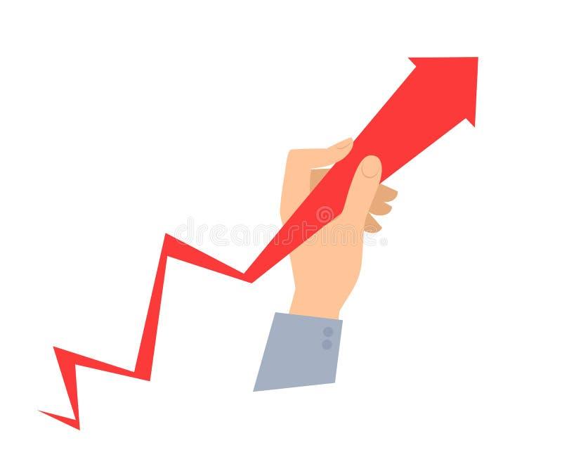 Entregue guarda o gráfico da seta e puxa-o para melhorar o negócio ilustração stock