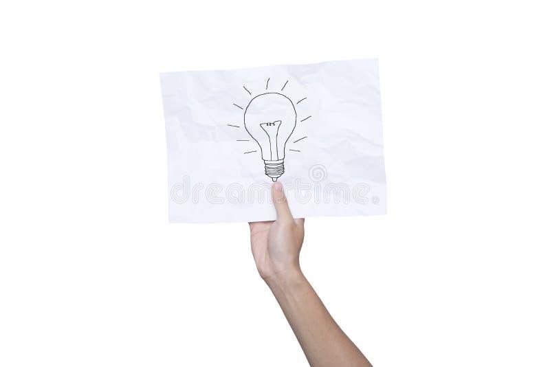 Entregue guardar a ampola de papel amarrotada da inspiração o conceito de papel fotografia de stock royalty free