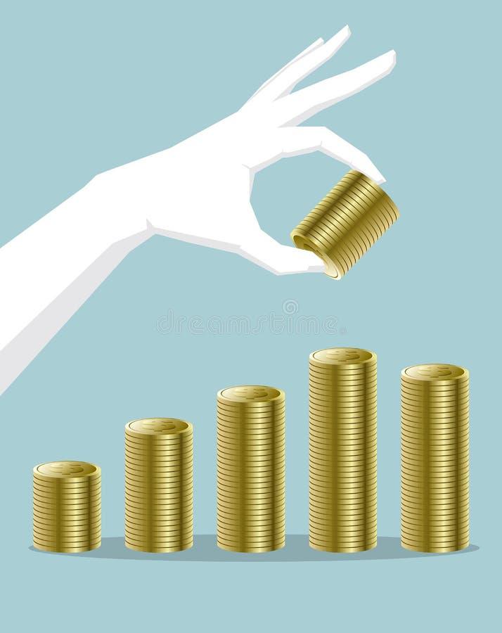 Entregue guardar as moedas do dólar, sobrepondo compõem a carta de barra ilustração do vetor