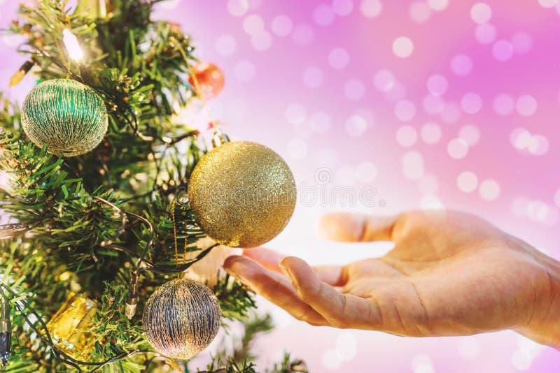 Entregue guardar a bola dourada do Natal na árvore de Natal para decorar no feriado, com fundo cor-de-rosa das luzes de Bokeh fotografia de stock