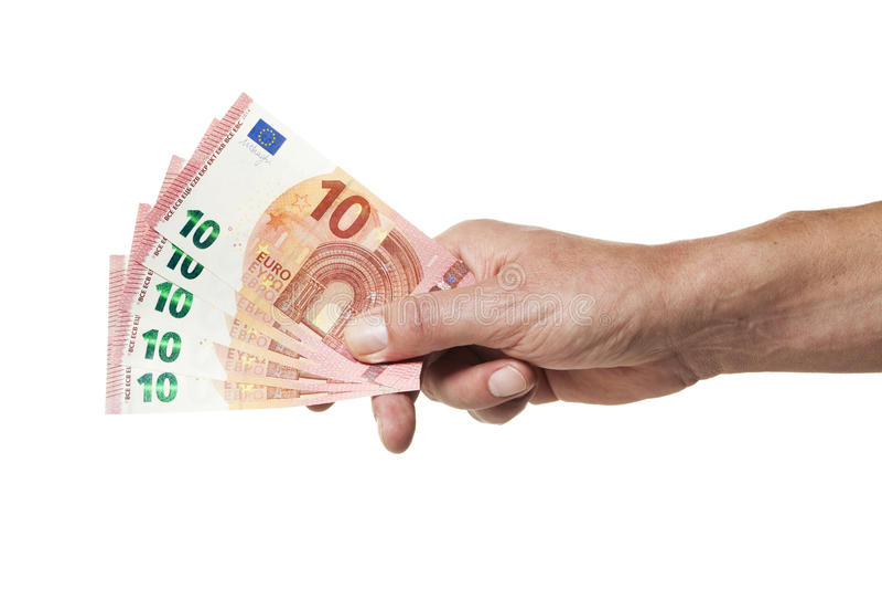 Entregue guardar 50 Euros em 10 contas do Euro imagens de stock