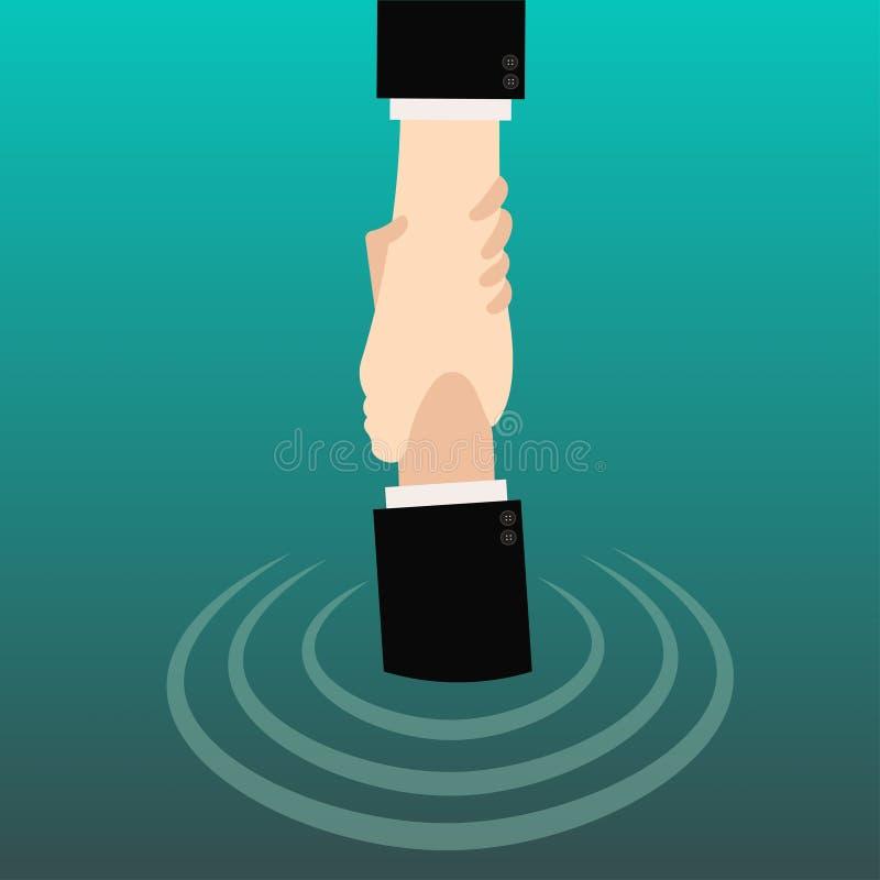 Entregue guardar a mão para a ajuda e espere-o da água imagens de stock