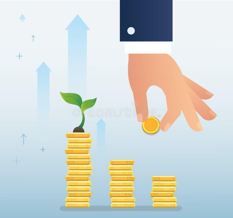 Entregue guardar a moeda e o crescimento vegetal no gráfico das moedas, ilustração startup do vetor do conceito do negócio ilustração do vetor