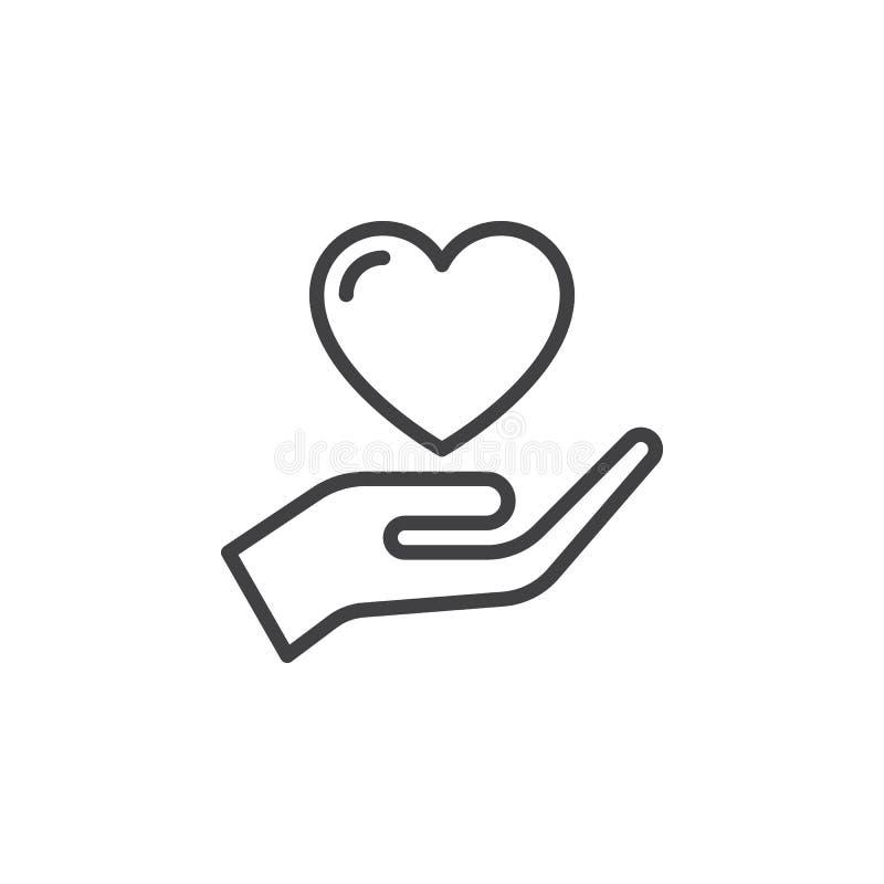 Entregue guardar o coração, linha ícone da confiança, sinal do vetor do esboço, pictograma linear do estilo isolado no branco ilustração royalty free