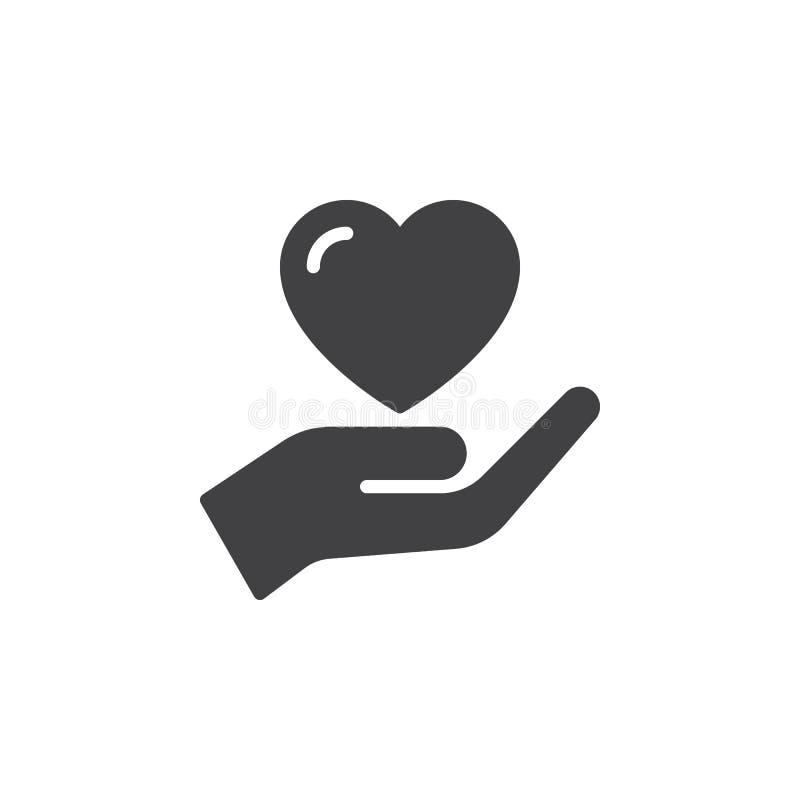 Entregue guardar o coração, vetor do ícone da confiança, sinal liso enchido, pictograma contínuo isolado no branco ilustração royalty free