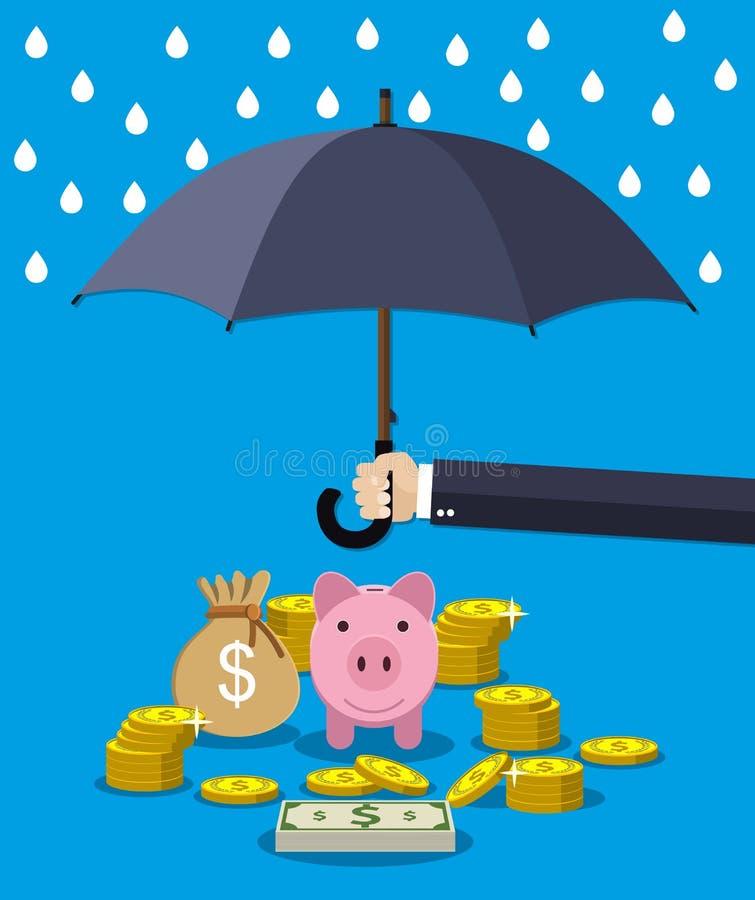 Entregue guardar o guarda-chuva sob a chuva para proteger o dinheiro ilustração stock
