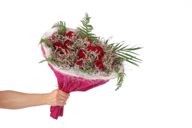 Entregue guardar o ramalhete de rosas vermelhas sobre o fundo branco imagem de stock royalty free