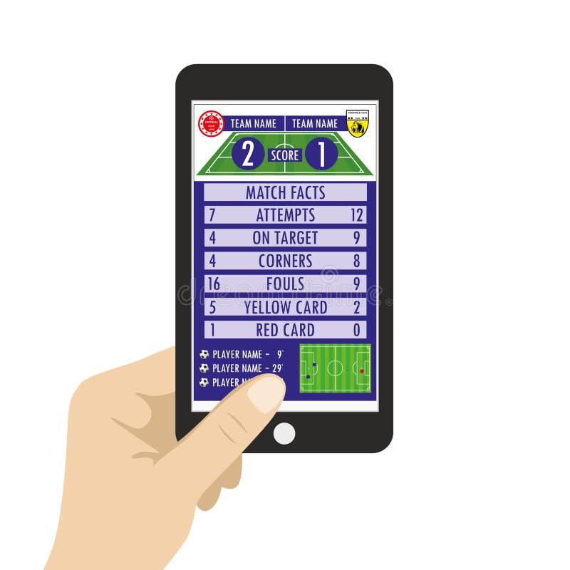 Entregue guardar o smartphone com aplicação do futebol ou do futebol em s ilustração do vetor