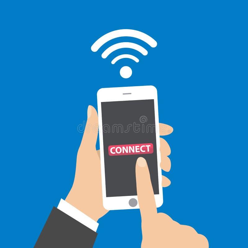 Entregue guardar o smartphone com ilustração sem fio do conceito do negócio da conexão do wifi ilustração do vetor