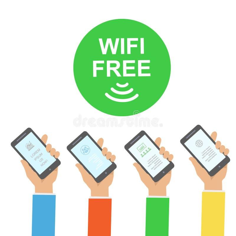 Entregue guardar o smartphone com ilustração sem fio do vetor de Infographics da conexão do wifi livre ilustração royalty free