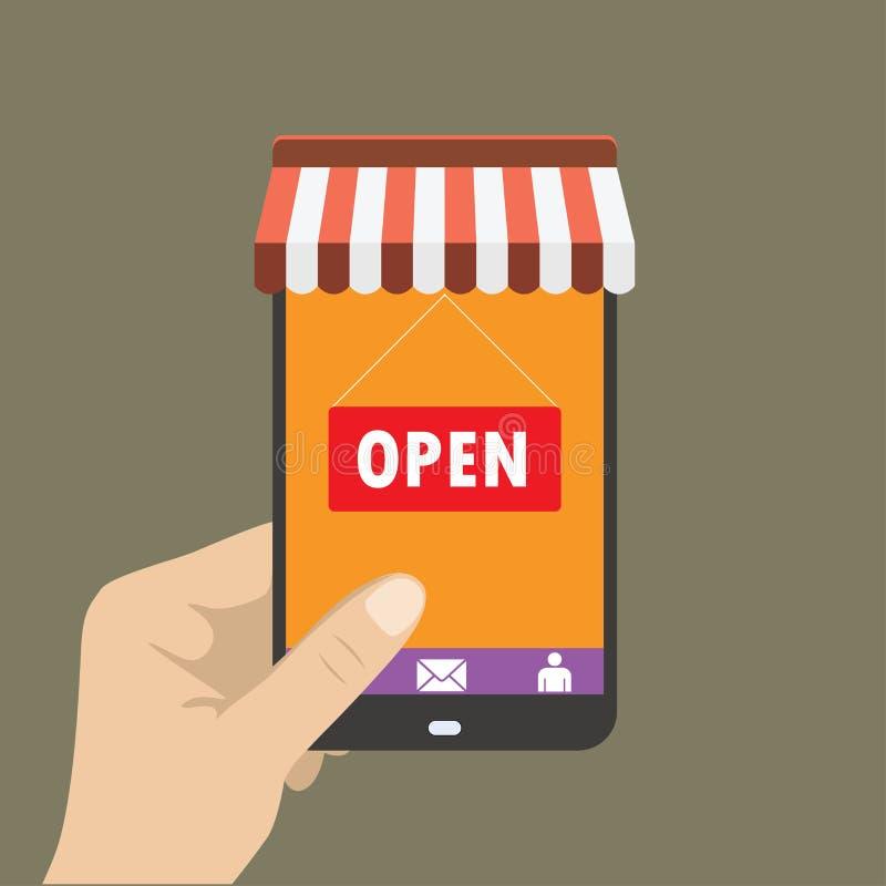 Entregue guardar o telefone celular com ícone da loja nele ilustração royalty free