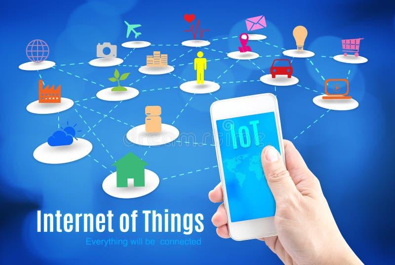Entregue guardar o telefone esperto com Internet da palavra das coisas (IoT) e ilustração do vetor