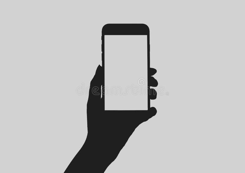 Entregue guardar o telefone esperto com a tela vazia para anunciar ilustração do vetor