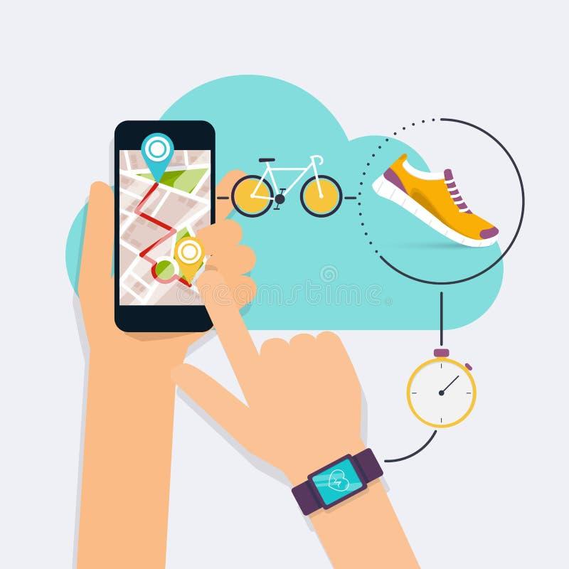 Entregue guardar o telefone esperto móvel app com a trilha indicada com ro ilustração royalty free