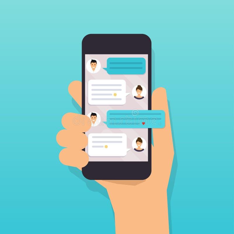 Entregue guardar o telefone esperto móvel com mensagem de texto Projeto liso m ilustração royalty free