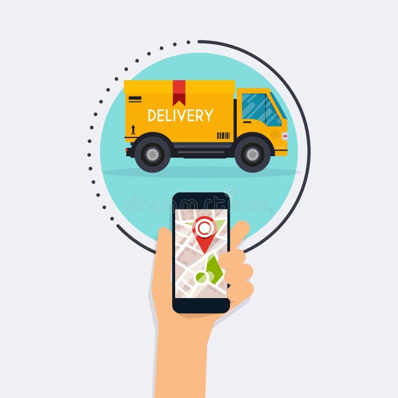 Entregue guardar o telefone esperto móvel com trackin móvel da entrega do app ilustração stock