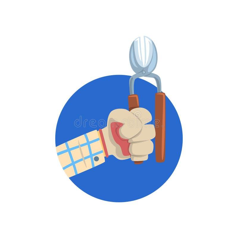 Entregue guardar a tesoura de podar manual, símbolo da profissão de uma ilustração do vetor dos desenhos animados do jardineiro ilustração royalty free